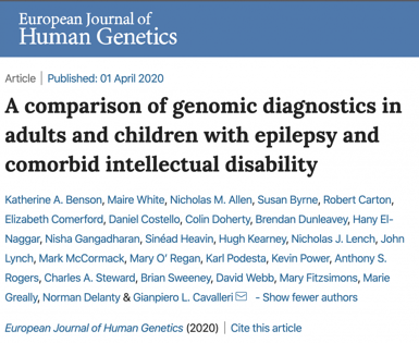 Screenshot of European Journal of Human Genetics paper, A Comparison of Genomic Diagnostics in Adults and Children with Epilepsy and Comorbid Intellectual Diasbility